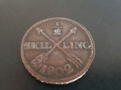 Swedish 1/2 skilling coin dated 1802