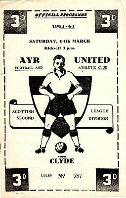 Ayr United v Clyde 2nd DIVISION 14th March 1964