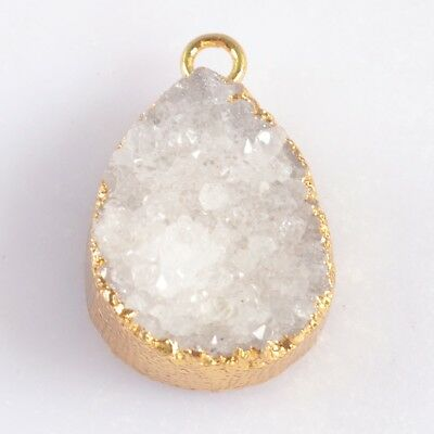 17x12mm Drop Natural Agate Druzy Geode Charm One Bail Gold Plated B049253