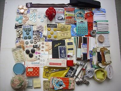 BULK LOT VINTAGE SEWING ACCESSORIES. NEEDLES,PINS,BUTTONS,THIMBLES,FASTENERS etc