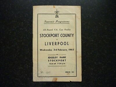 Football Programme Stockport County V Liverpool F.A.Cup Replay 3rd Feb 1965