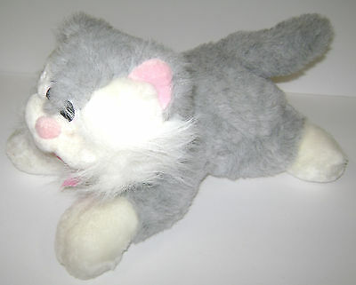 "Large Vintage Gray Pink White Pound Puppies Purries Purry Cat Tonka 14"" 1980's"