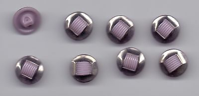 8 glass vintage buttons- purple with silver