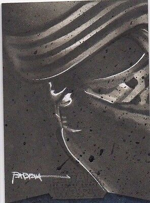 2016 Star Wars The Force Awakens 2 Sketch Kylo Ren by Kyle Babbet 1 of 1