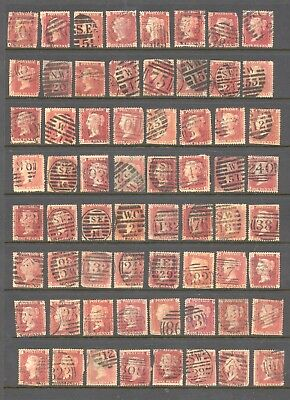 GREAT BRITAIN , VICTORIA , 1d red PLATES X 64 ,used , all have faults ,unsorted