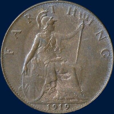 1919 Great Britain 1 Farthing Coin