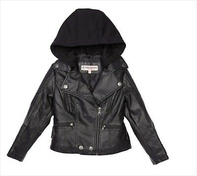 Girls Faux Leather Jacket Black Size 10 Removable Hood Zip Front Winter Coat NWT