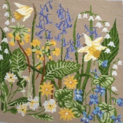 Beautiful daffodil and bluebell completed tapestry - woodland