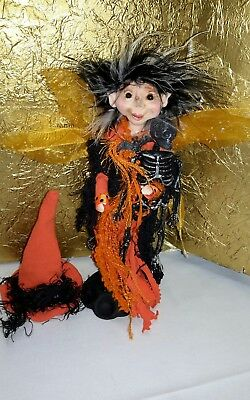 Halloween Witch Fairy polymer clay OOAK Fantasy Art Doll  By Lori Schroeder