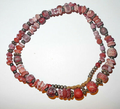 VENETIAN made RED YELLOW-HEART GLASS TRADE BEADS - 26 inches - Sterling spacers