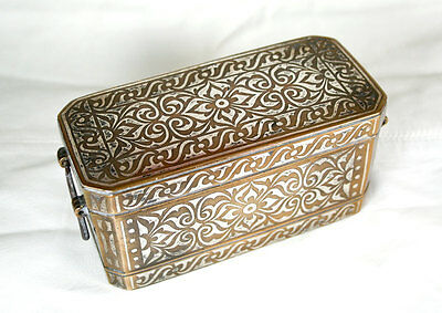 Antique-Islamic-Philippines-Bronze Betel Nut Box With Elaborate Silver Inlay
