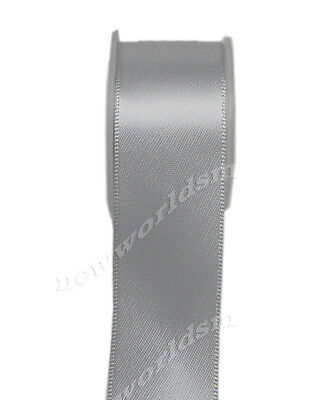"""4y 57mm 2 1/4"""" Silver Premium Double Faced Heavy Satin Ribbon Eco FREE PP"""