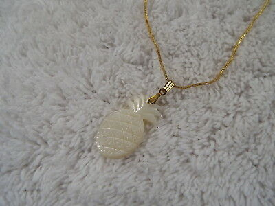 Goldtone MOP Mother of Pearl Carved PINEAPPLE Pendant Necklace (D24)