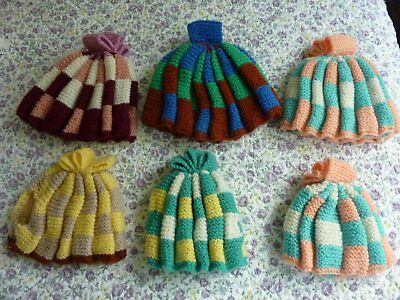Six Homemade Knitted Tea Cosies, 3 large and 3 small