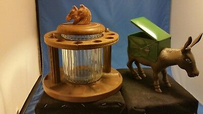 Vintage Horse Wood 10 Pipe Stand Clear Glass Humidorplus donkey cigarette roller
