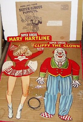 Super Circus Puppets-Early Tv Show--Mary Hartline & Cliffy The Clown--1954-Vg/ex