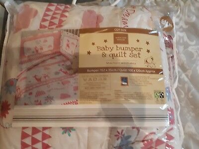 girls baby bumber and quilt set