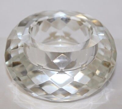 Beautiful Crystal Faceted ROYAL DOULTON Tea Light Votive Candle Holder