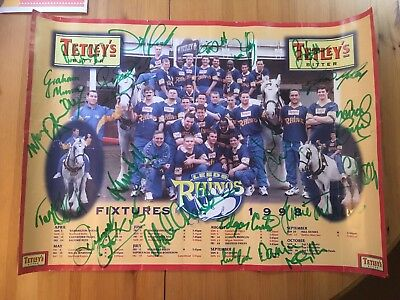 Leeds Rhinos 1998 Signed Fixture Poster