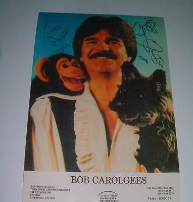 Bob Carolgees Signed Spit The Dog + Charlie The Monkey Photograph