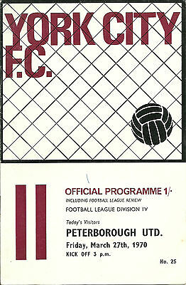 YORK CITY v PETERBOROUGH UTD - DIV 4 - 27/03/1970.