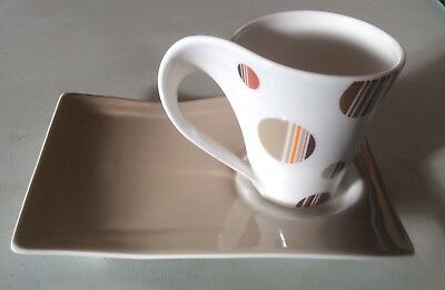 Villeroy & Boch China New Wave Mug Cup & Saucer - Chocolate Drops Pattern - New