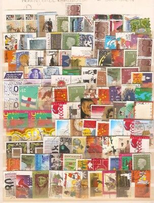 a stock page of with a large lot of used stamps from the Netherlands.(N-2)