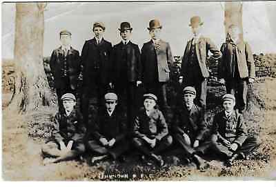 Unknown football club, best clothes, all with caps/hats  - old post card