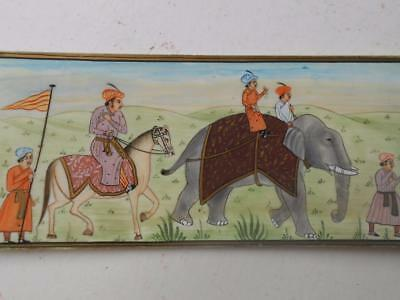 Super Fine Antique Miniature Indian Hand Painted Painting Procession Elephant