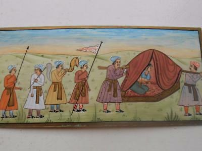 Super Fine Antique Miniature Indian Hand Painted Painting Procession Instruments