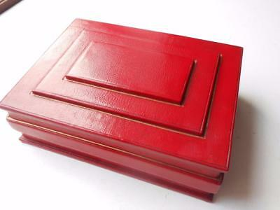 Lovely Quality Vintage Red Leather Wooden Lined Cigar Cigarette Box Humidor