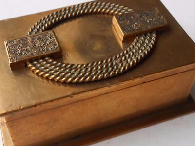 Lovely Little Quality Heavy Antique Art Deco Brass Box Rings Stamps Jewelry