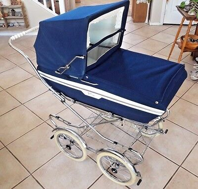 Perego Italy Vintage Navy Blue Baby Pram Carriage Buggy W Cover - Xlnt Condition