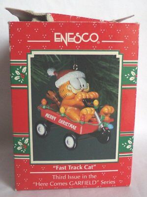 Enesco Garfield 'Fast Track Cat' Christmas Ornament 1992-94
