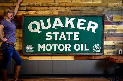 NOS QUAKER STATE Motor Oil Service METAL SIGN Gas Station Advertising 1920's