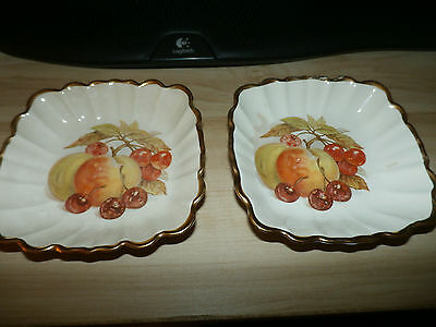 Lot of 2 CROWN DEVON Square DISH FIELDINGS STAFFORDSHIRE ENGLAND GOLD TRIM