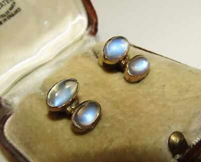 Elegant, Victorian, 9 Ct Gold Earrings With Natural Lush Moonstone Gems