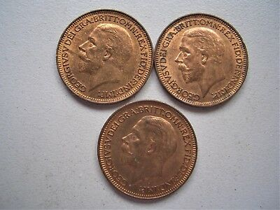 King George V,  3 x 1933   Farthings, Uncirculated condition  [87]