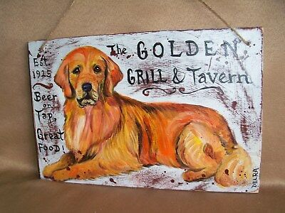 HP Golden Retriever CLUB/Tavern SIGN PAINTING hand painted dog art 2 sidesdouble
