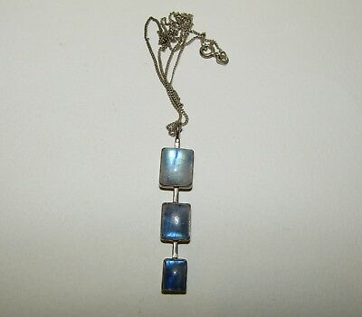 Beautiful, Antique, Sterling Silver Pendant Necklace With Blue Moonstones