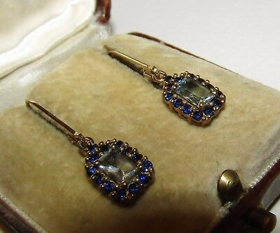 Gorgeous, Antique, 9 Ct Gold Dormeuses Earrings With Aquamarine/sapphire