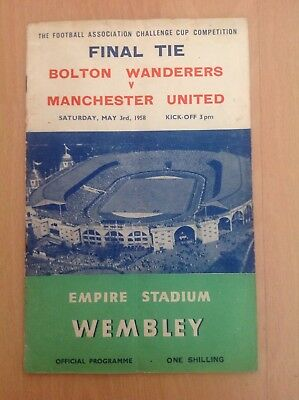 1958 F A CUP FINAL :  BOLTON WANDERERS  v  MANCHESTER UNITED   3rd MAY 1958
