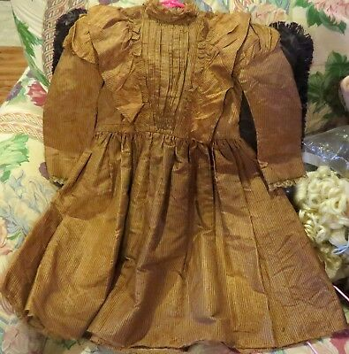 w308 C1890 Fine Early Cotton Dress w/Fancy Buttons for Antique Bisque Large Doll