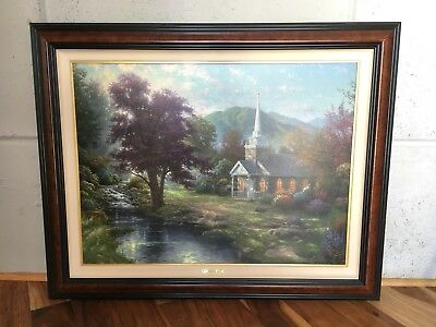 Thomas Kinkade S/N STREAMS OF LIVING WATER 25.5 X 34  framed canvas COA signed