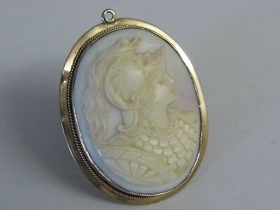 An Exquisite Antique Vintage 9Ct Rose Gold Pink Cameo Pendant
