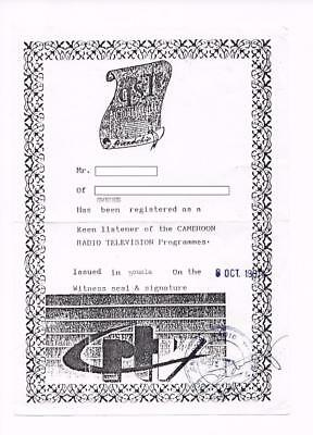QSL Radio Cameroon Douala Africa 1991 Witness seal and signature certificate DX