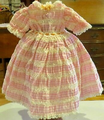 w311 Vintage Fine Cotton Lacy Dress for Antique Bisque French or German Doll