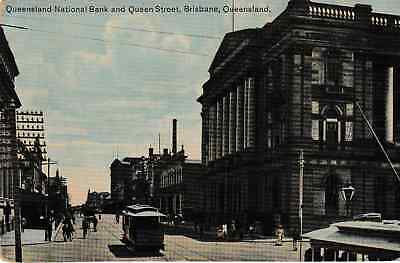 Brisbane, Australia - Queensland National Bank & Queen Street - old post card