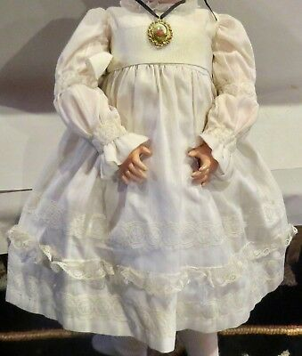 w313 Vintage Fine Cotton Lacy Outfit for Antique Bisque French or German Doll