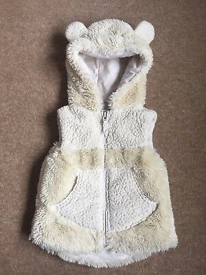 Girls Next Cream Hooded With Ears Detailed Faux Fur Gillet Age 18 - 24 Months